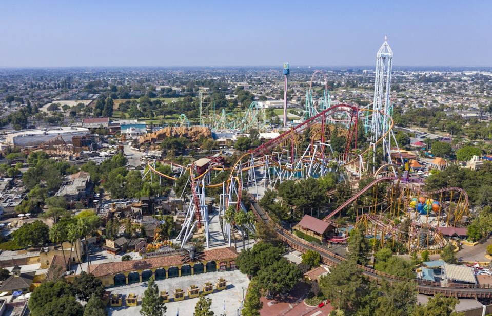 An aerial view of Knott's Berry Farm in Buena Park, which is closed due to the COVID-19 pandemic, on Oct. 20, 2020.
