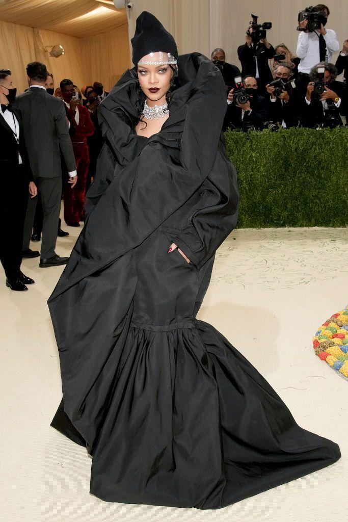 <p>It was a big night for Balenciaga with the house responsible for dressing some of the biggest stars in the world. This included Rihanna, always the queen of the Met Gala red carpet, who this year wore a black voluminous gown and beanie from the house's latest couture collection, which she paired with lots and lots of diamonds.</p>
