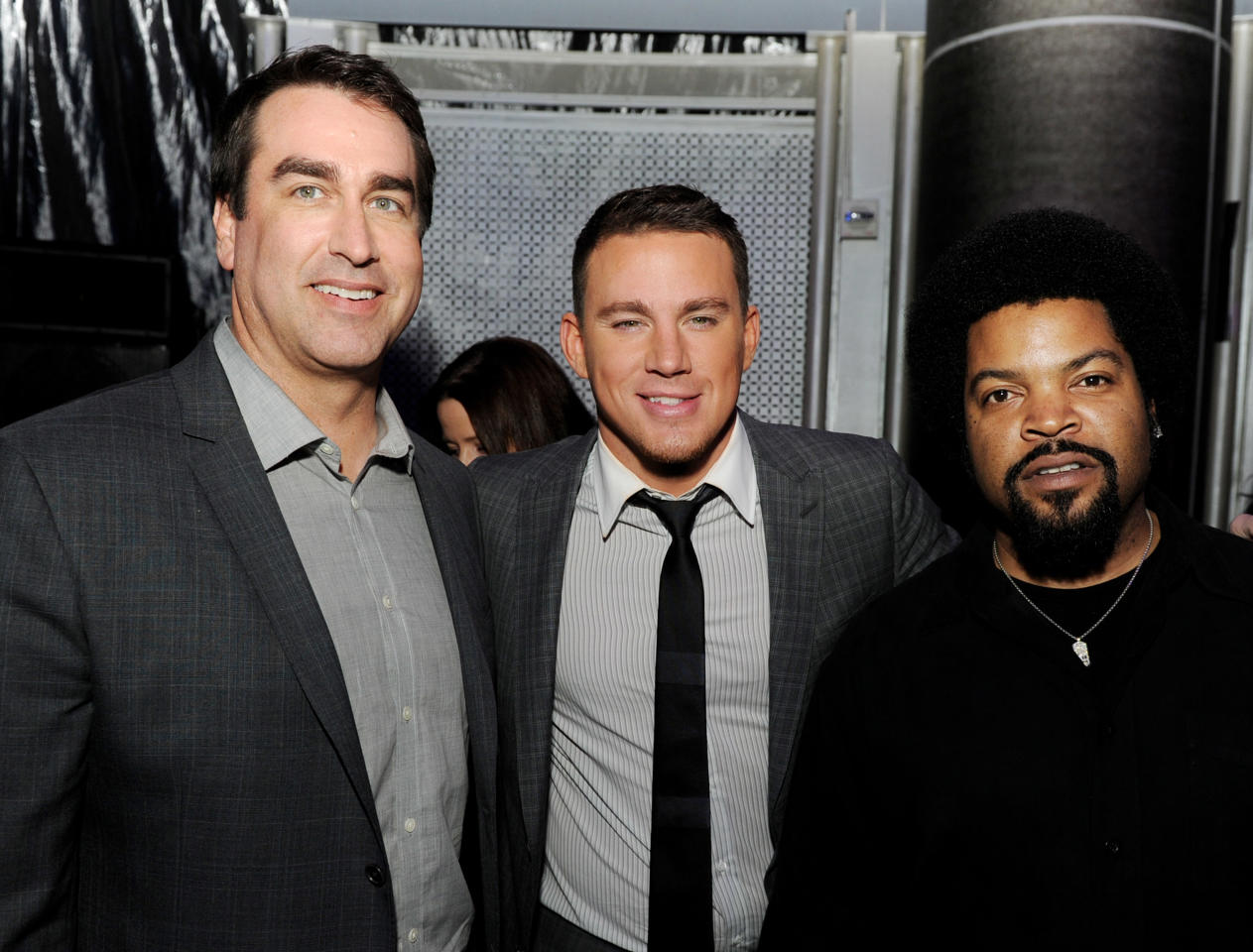 "LOS ANGELES, CA - MARCH 13:  (L-R) Actors Rob Riggle, Channing Tatum and Ice Cube pose at the after party for the premiere of Columbia Pictures' ""21 Jump Street"" at the Rolling Stone Restaurant & Lounge on March 13, 2012 in Los Angeles, California.  (Photo by Kevin Winter/Getty Images)"