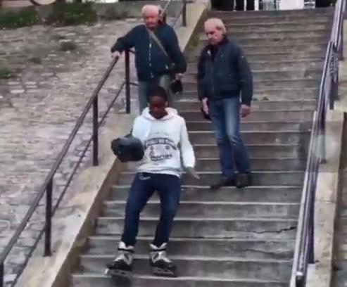 Twitter can't handle this video of a man running down steps in rollerblades