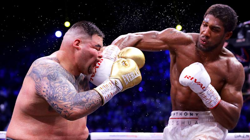 Seen here, Anthony Joshua hits Andy Ruiz Jnr with a fierce right hand.