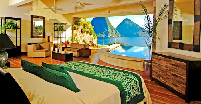 Sanctuaries at Jade Mountain in St. Lucia offer dramatic views of the Piton Peaks.