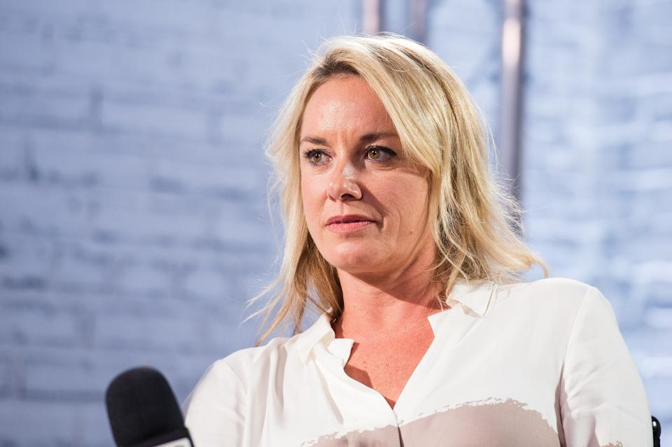 LONDON, ENGLAND - JULY 20:  Tamzin Outhwaite during a BUILD event at AOL London on July 20, 2017 in London, England.  (Photo by Jeff Spicer/Getty Images)