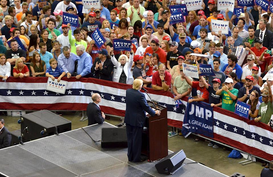 Donald Trump speaks at his campaign for president rally at the Veterans Memorial Arena in 2016 in Jacksonville, Fla. This year's Republican National Convention was moved from Charlotte, N.C. to Jacksonville but ultimately canceled because of coronavirus concerns.