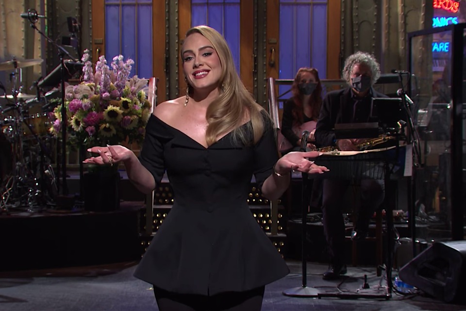 Adele delivering her opening monologue on Saturday Night Live: NBC/Saturday Night Live