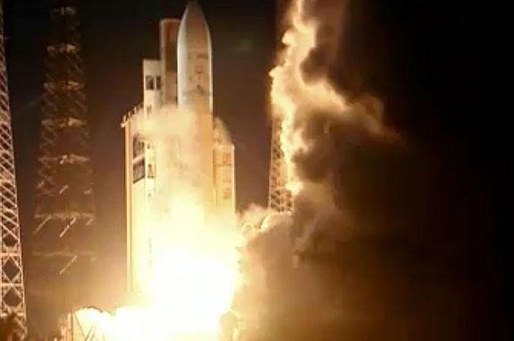 """The """"Albert Einstein"""" Automated Transfer Vehicle launches atop an Ariane 5 rocket from Kourou, French Guiana on June 5, 2013."""