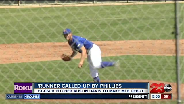 Local college pitcher makes his MLB debut for the Philadelphia Phillies.