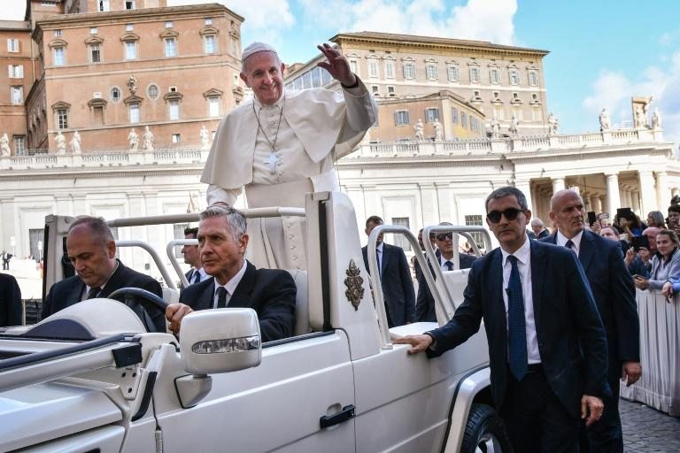Pope Francis warned that with nearly 700 million people overweight in the world eating too much has become an 'avenue of personal destruction'