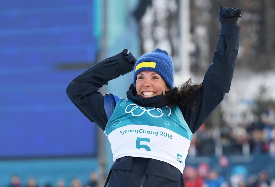 <p>Gold medalist Charlotte Kalla of Sweden celebrates during the victory ceremony for the Ladies Cross Country Skiing 7.5km + 7.5km Skiathlon on day one of the PyeongChang 2018 Winter Olympic Games at Alpensia Cross-Country Centre on February 10, 2018 in Pyeongchang-gun, South Korea. </p>