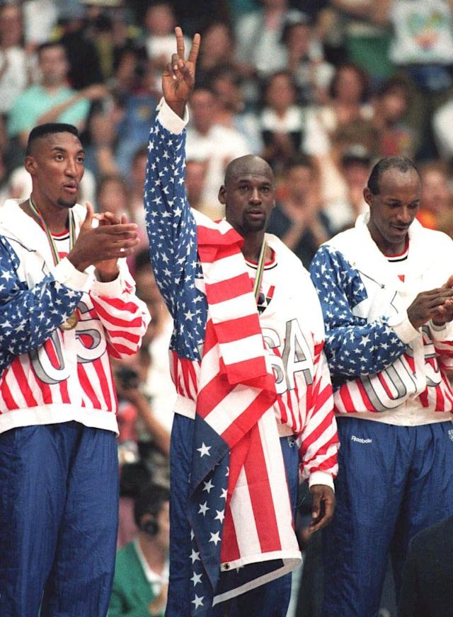 The U.S. flag covers the Reebok logo on Michael Jordan's warmups in 1992. (AP)