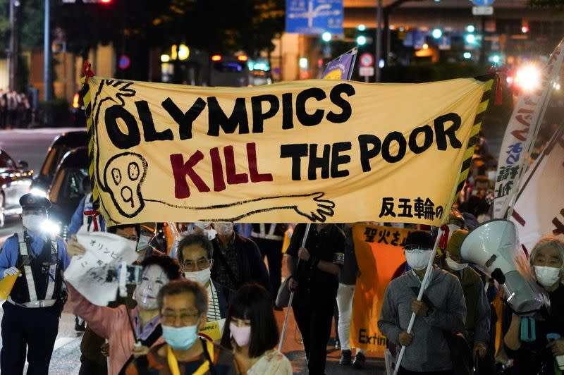 Anti-Olympics group members hold protest march in Tokyo