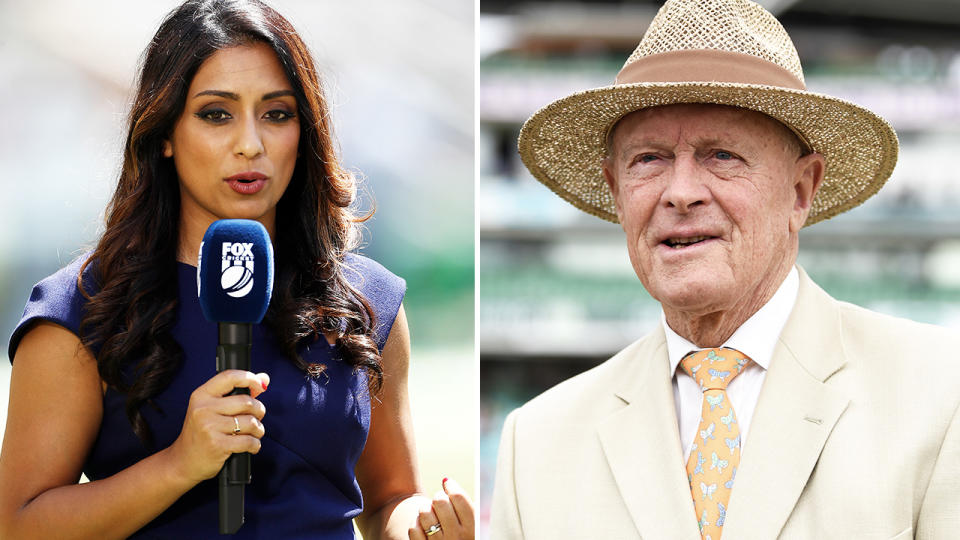 Isa Guha and Geoffrey Bocyott, pictured here commentating on the cricket.