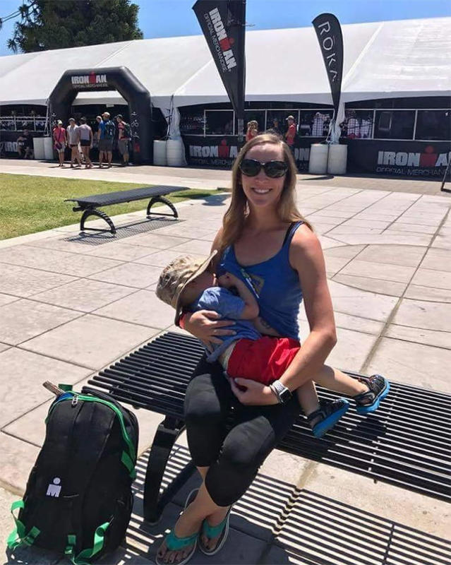 Katrina Bolduc poses with her son Grayson at Ironman Village the day before she completed Ironman Santa Rosa, in California. (Photo: TheBadassBreastfeeder/Facebook)