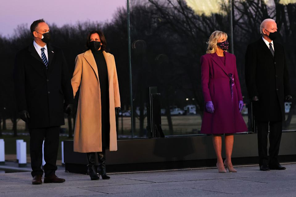 Doug Emhoff, Kamala Harris, Dr. Jill Biden and Joe Biden at a memorial for victims of the coronavirus pandemic at the Lincoln Memorial on Tuesday. (Photo: Michael M. Santiago via Getty Images)