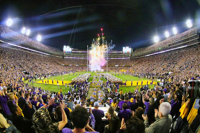 BATON ROUGE, LA - OCTOBER 12: General view of the LSU Tigers runout against Florida Gators on October 12, 2019 at the Tiger Stadium in Baton Rouge, LA. (Photo by Stephen Lew/Icon Sportswire via Getty Images)