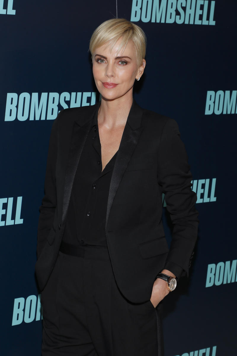 "WASHINGTON, DC - NOVEMBER 13: Actress Charlize Theron poses at the ""Bombshell"" Special Screening at the MPAA on November 13, 2019 in Washington, DC. (Photo by Paul Morigi/Getty Images for Lionsgate Entertainment)"