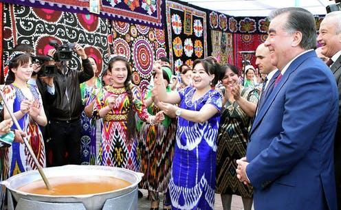 "<span class=""caption"">Business as usual for the Tajik president, Emamoli Rakhmon, at the new year 'Nowruz' celebration in March. </span> <span class=""attribution""><span class=""source"">Press service of the president of Tajikistan.</span></span>"
