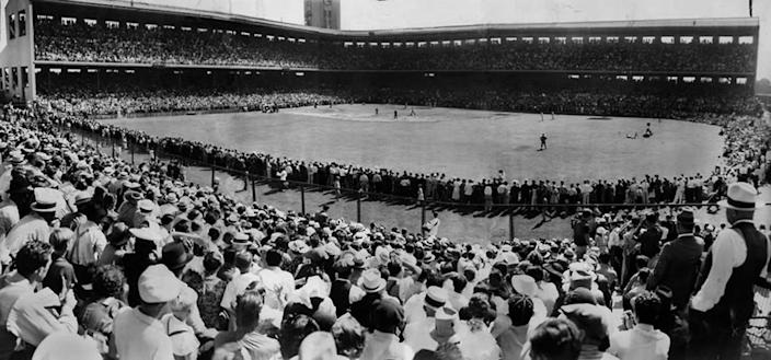 30,000 fans crowd the 22,000-seat Wrigley Field for a celebrity charity baseball game for Mt. Sinai Hospital. July 17, 1937.