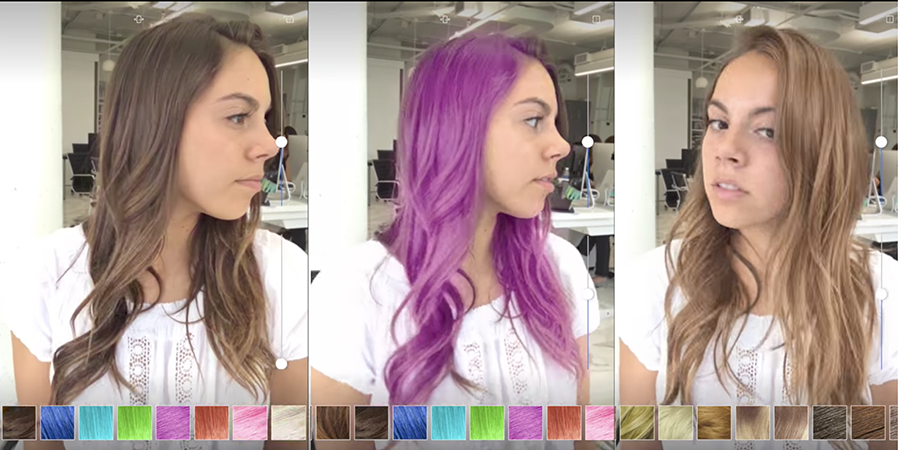 """Now you can try on different hair colors in a live, 3D video """"mirror."""""""