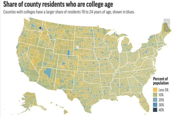 This preview image of an AP digital embed shows share of residents who are college age, 18-24 years, shown by county. (AP Digital Embed)