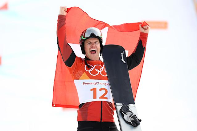 <p>Gold medalist Nevin Galmarini of Switzerland poses during the victory ceremony for the Men's Snowboard Parallel Giant Slalom on day fifteen of the PyeongChang 2018 Winter Olympic Games at Phoenix Snow Park on February 24, 2018 in Pyeongchang-gun, South Korea. (Photo by Cameron Spencer/Getty Images) </p>