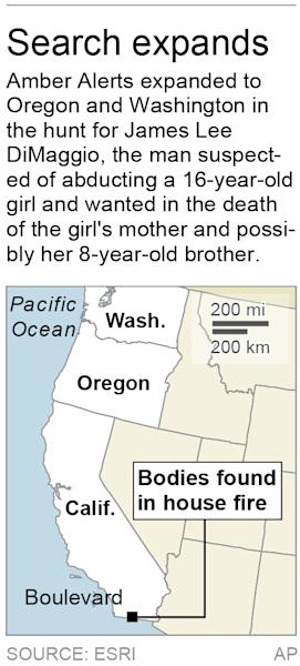 Map locates Boulevard, Calif., where the bodies of missing children were found; 1c x 2 inches; 46.5 mm x 50 mm;