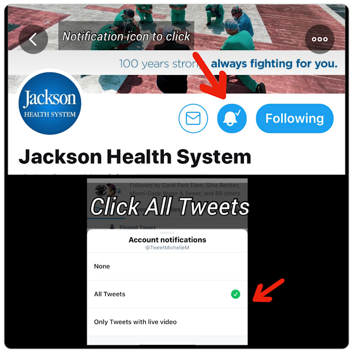 Click the notification icon (it looks like a bell) to be notified every time a Twitter account tweets.