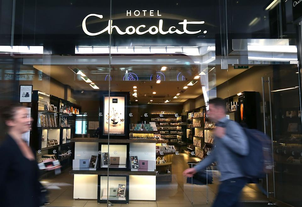 A Hotel Chocolat shop in Victoria, London as the company's initial public offering has valued the firm at £167 million and netted the company's founders more than £20 million.