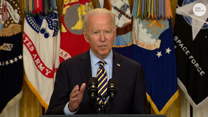 """Biden defended his decision to end the war asking, """"How many more thousands of American daughters and sons are you willing to risk?"""""""