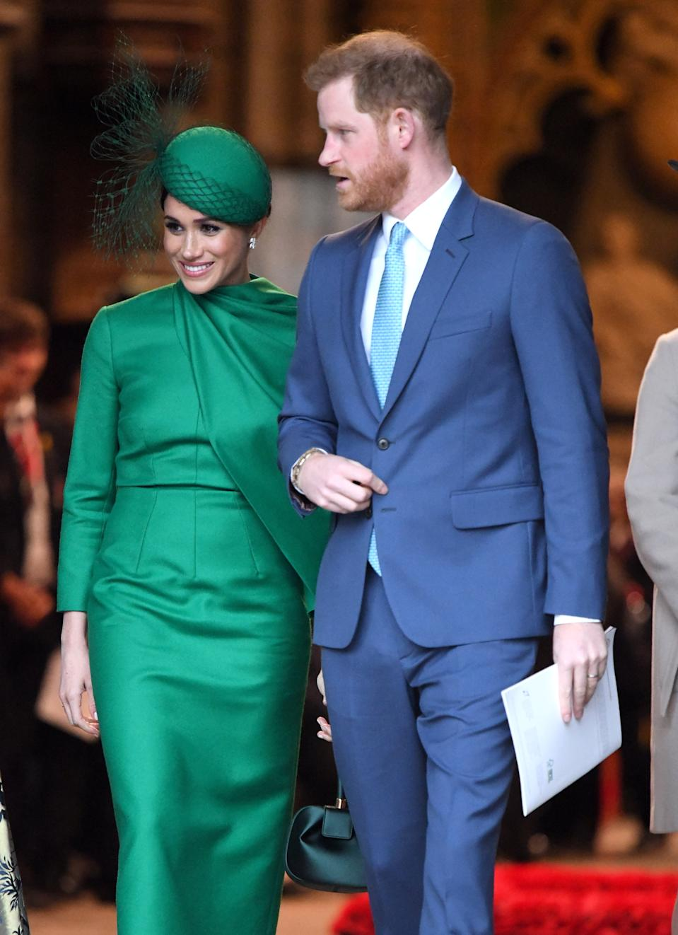 LONDON, ENGLAND - MARCH 09: Prince Harry, Duke of Sussex and Meghan, Duchess of Sussex depart after attending the Commonwealth Day Service 2020 at Westminster Abbey on March 09, 2020 in London, England. (Photo by Karwai Tang/WireImage)