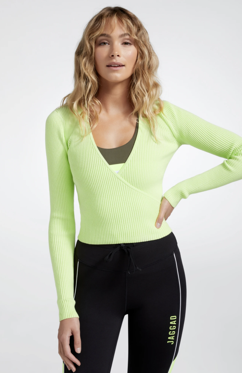 Jaggad Arena Wrap Knit Top, $99.95. Photo: Jaggad.