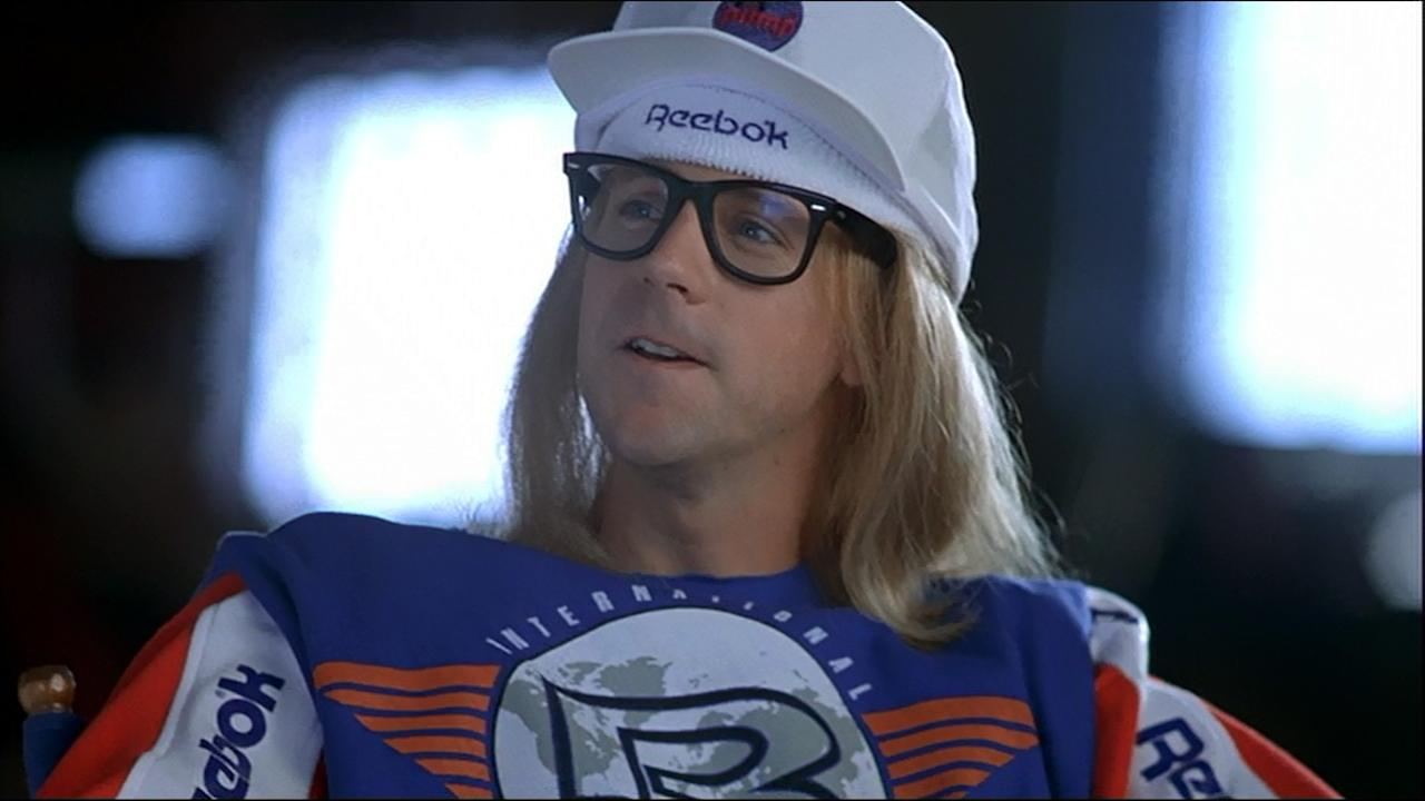 """<p>A meta gag about product placement which - as it later turned out - was actually a paid product placement, the scene in 'Wayne's World' where Wayne and Garth can't stop mentioning brand names is a classic. It's topped off by Garth, dressed head to toe in Reebok sportwear: """"It's like people only do these things because they can get paid. And that's just really sad."""" (Credit: Paramount Pictures) </p>"""