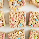 "<p>This easy peasy recipe uses Lucky Charms cereal to add a festive touch to a classic treat.</p><p><a href=""https://www.delish.com/cooking/recipe-ideas/a30982529/lucky-charms-marshmallow-treats-recipe/"" rel=""nofollow noopener"" target=""_blank"" data-ylk=""slk:Get the recipe from Delish »"" class=""link rapid-noclick-resp""><em>Get the recipe from Delish »</em></a></p>"
