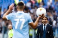 Lazio coach Simone Inzaghi shouts during the Serie A soccer match between Lazio and Atalanta at the Rome Olympic stadium, Saturday, Oct. 19, 2019. (Angelo Carconi/ANSA via AP)