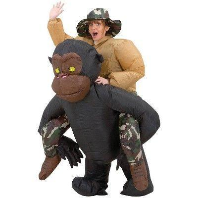 """<p><strong>Morris Costumes</strong></p><p>target.com</p><p><strong>$39.49</strong></p><p><a href=""""https://www.target.com/p/adult-inflatable-riding-gorilla-costume/-/A-49147244"""" rel=""""nofollow noopener"""" target=""""_blank"""" data-ylk=""""slk:Shop Now"""" class=""""link rapid-noclick-resp"""">Shop Now</a></p><p>This safari-themed jumpsuit will look like you're actually being carried by a gorilla.</p>"""