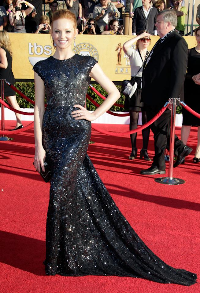 Jayma Mays (in Reem Acra) arrives at the 18th Annual Screen Actors Guild Awards at The Shrine Auditorium in Los Angeles, California.