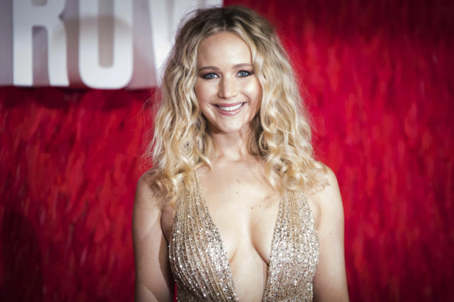 Actress Jennifer Lawrence poses for photographers upon arrival at the film 'Red Sparrow' in London, Monday, Feb. 19, 2018. (Photo by Vianney Le Caer/Invision/AP)