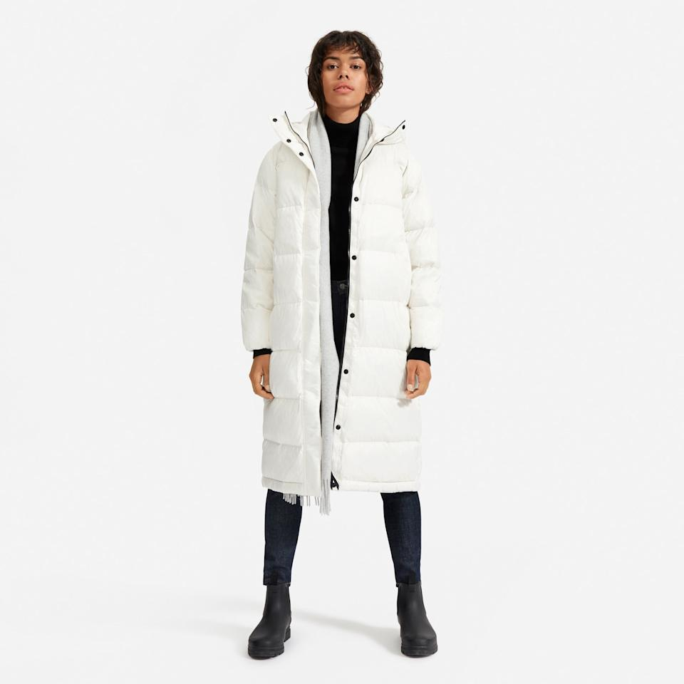 """<p>Your outdoorsy friend who's been hunting for the perfect winter coat is about to meet their match. Everlane's latest innovation adds warmth without bulk, cocooning the body in a layer of down repurposed from recycled pillows and comforters, for outerwear that's as conscious as it is cozy.</p> <p><strong>$198</strong> (<a href=""""https://www.everlane.com/products/womens-redown-long-line-puffer-bone?collection=womens-renew"""" rel=""""nofollow"""">Shop Now</a>)</p>"""