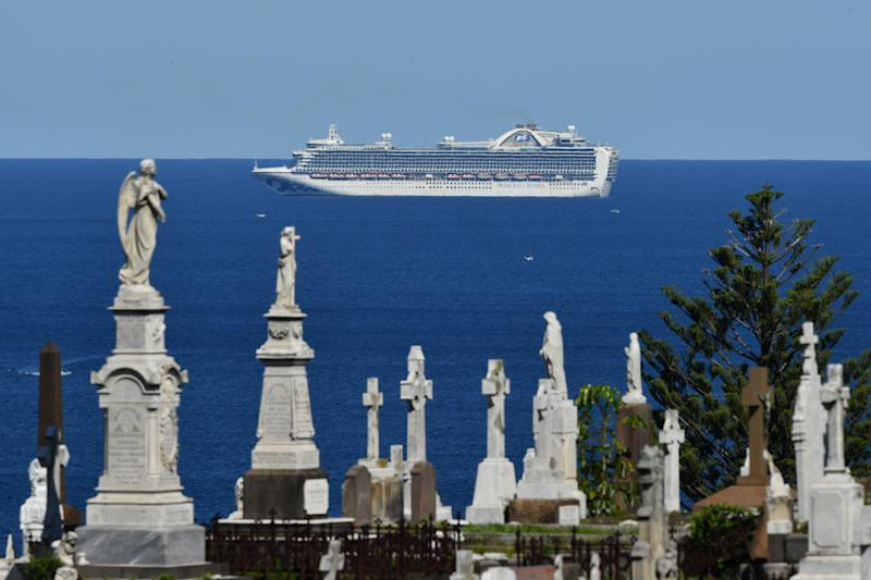 Pictured is the Ruby Princess cruise ship floating along the NSW coastline.