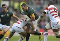 South Africa's captain Jean de Villiers (C) had expected to be dropped after Japan inflicted the biggest shock in World Cup history with a 34-32 win over South Africa (AFP Photo/Lionel Bonaventure)