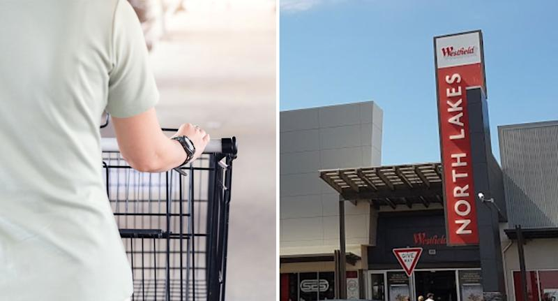 Photo of a woman pushing a trolley and photo of the outside North Lakes in Brisbane.