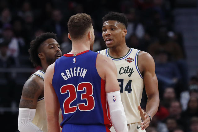 Detroit Pistons forward Blake Griffin and Milwaukee Bucks forward Giannis Antetokounmp were butting heads all night in Detroit. (AP Photo/Carlos Osorio)