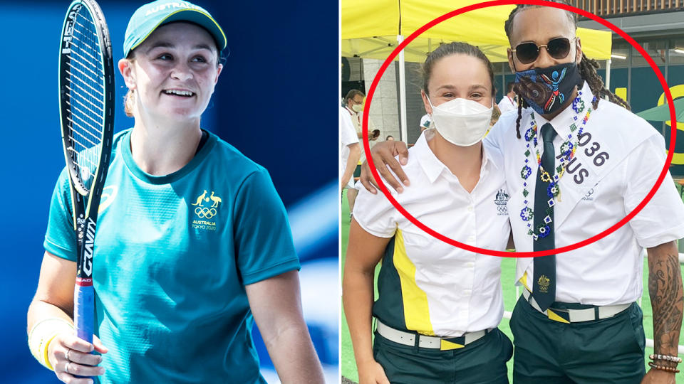 Ash Barty and Patty Mills, pictured here posing for an iconic photo at the Tokyo Olympics.