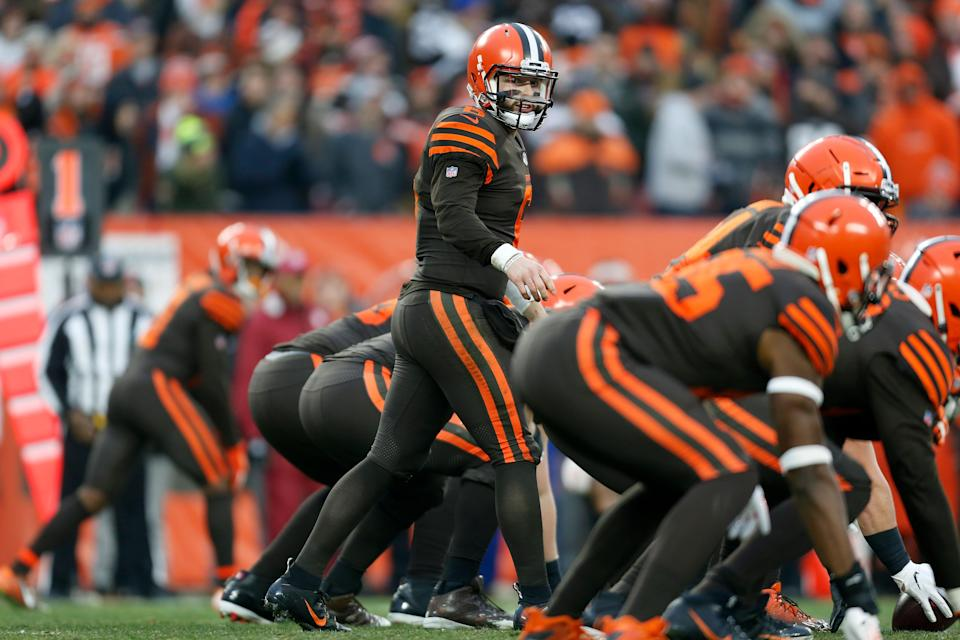 Browns quarterback Baker Mayfield was fined more than $10,000 for a sideline celebration after scoring a touchdown against the Bengals. (Kirk Irwin/Getty Images)