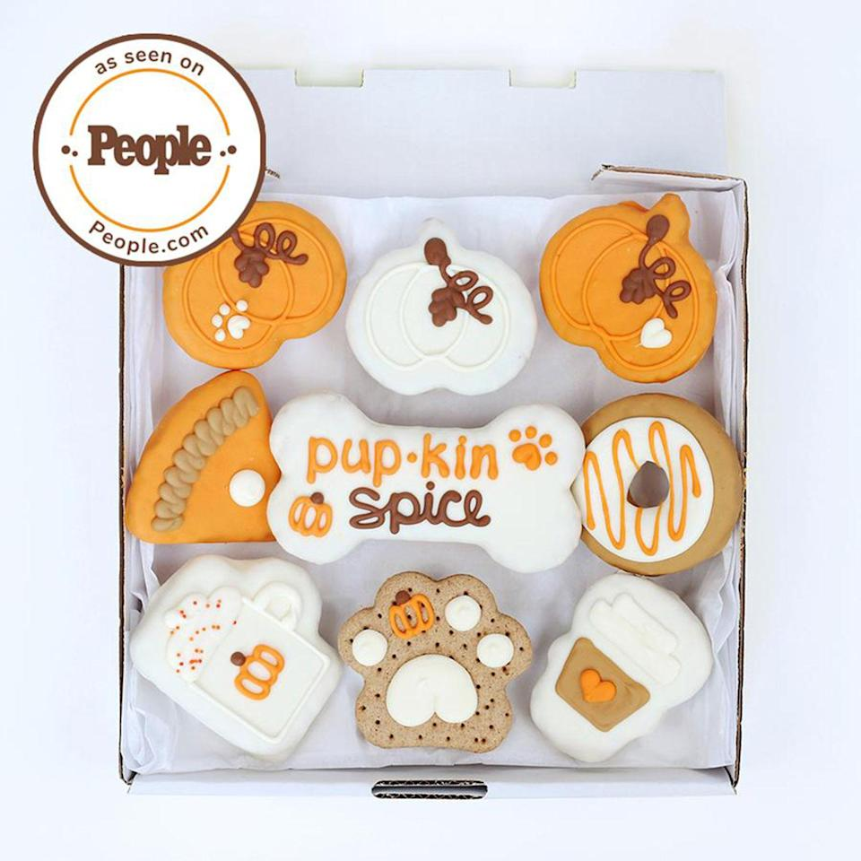 """<p>These tasty-looking treats are designed for dogs and are packed with pet-safe ingredients, so your dog can indulge guilt-free on a festive fall snack. </p> <p><strong>Buy it!</strong> Pup-kin Spice Cookie Box, $39.95; <a href=""""https://wufers.com/products/pupkin-spice-cookie-box"""" rel=""""nofollow noopener"""" target=""""_blank"""" data-ylk=""""slk:Wufers.com"""" class=""""link rapid-noclick-resp"""">Wufers.com</a></p>"""