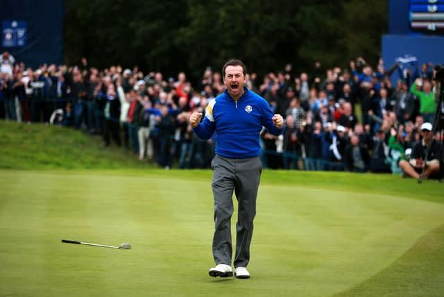 Europe's Graeme McDowell roars with delight after winning his singles match on day three of the 40th Ryder Cup at Gleneagles in September 2014. The hosts retained the trophy, defeating the United States by 16½ points to 11½, for their third consecutive win (David Davies/PA)