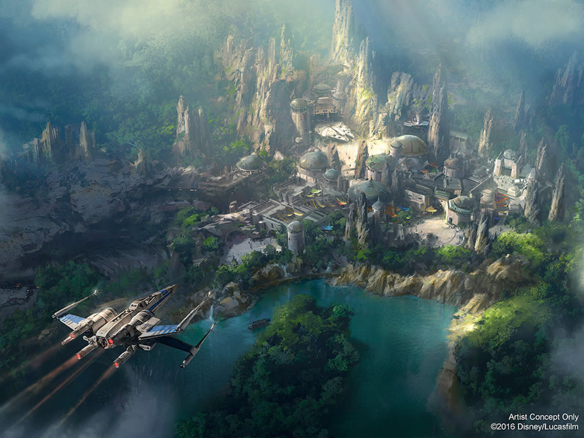 <p>A Resistance X-wing sails high above the planned park, providing an overview of the various sections, including the <i>Millennium Falcon</i> hangar, shops, and Stormtrooper base. (Credit: Disney Parks/Lucasfilm) </p>