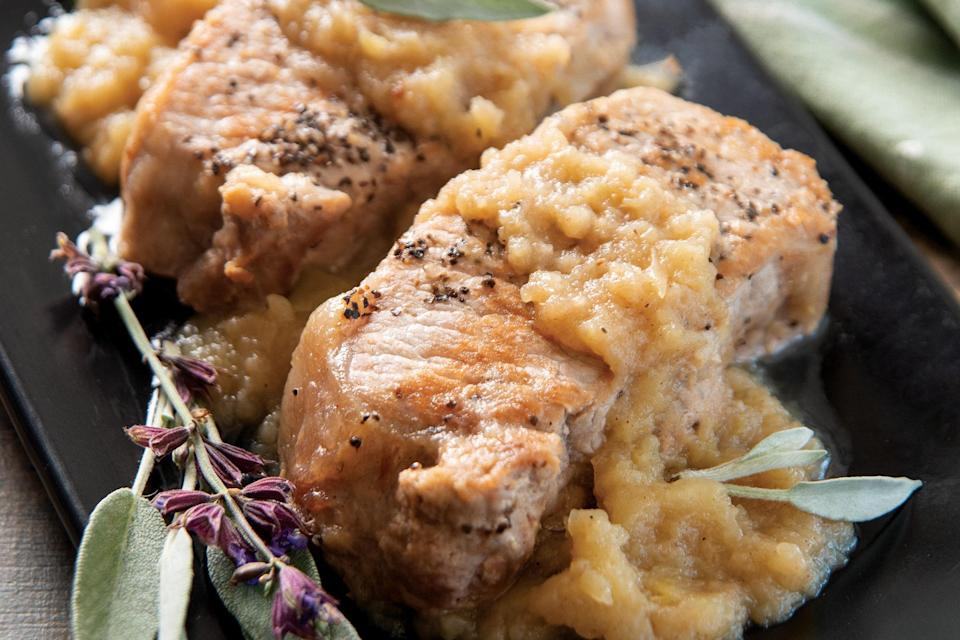 """These pork chops are a fantastic way to take advantage of fall flavors. If you don't have pumpkin pie spice, you can substitute 1/2 teaspoon ground cinnamon, 1/4 teaspoon ground nutmeg, and 1/4 teaspoon ground ginger. Or, you can just skip the spice mixture and add a second cinnamon stick. <a href=""""https://www.epicurious.com/recipes/food/views/instant-pot-cinnamon-apple-pork-chops?mbid=synd_yahoo_rss"""" rel=""""nofollow noopener"""" target=""""_blank"""" data-ylk=""""slk:See recipe."""" class=""""link rapid-noclick-resp"""">See recipe.</a>"""