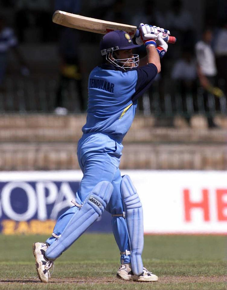 25 Aug 1999:  Sachin Tendulkar of India on the attack, during the match between Sri Lanka and India at Premadasa Stadium, Colombo, Sri Lanka. Mandatory Credit: Hamish Blair/ALLSPORT