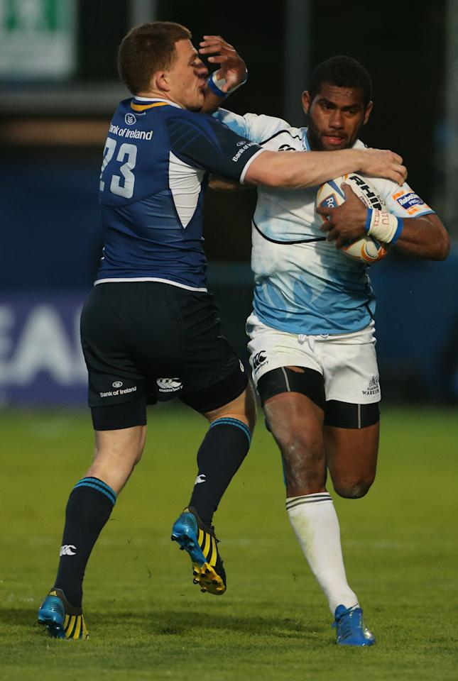 Leinster's Andrew Conway and Glasgow Warriors' Nikola Matawalu during the Rabo Direct PRO12 Playoff match at the RDS, Dublin.